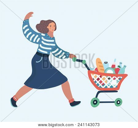 Vector Cartoon Illustration Of Woman With Shopping Cart . Smiling Girl Wave By Hands. Daily Shopping