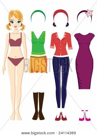 Paper doll & outfits vector