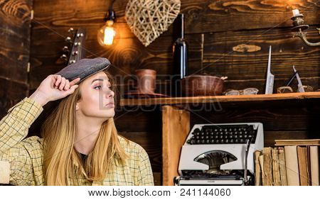 Girl In Casual Outfit With Kepi In Wooden Vintage Interior. Tomboy Concept. Lady On Calm Face In Pla