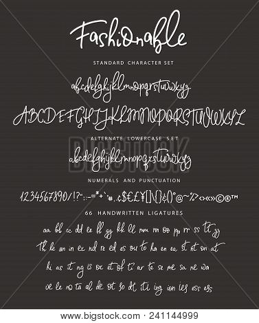 Handrawn Vector Alphabet. Letter For Script Font. Modern Calligraphy. Marker Painted Abc With Ligatu
