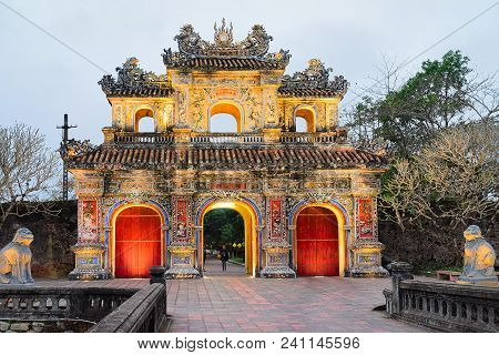 Hue, Vietnam - February 19, 2016: Gate In Emperial City Kinh Thanh In Hue, In Vietnam