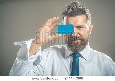 Businessmen Show Business Cards. Handsome Smiling Confident Businessman Portrait. Cash Card, Busines