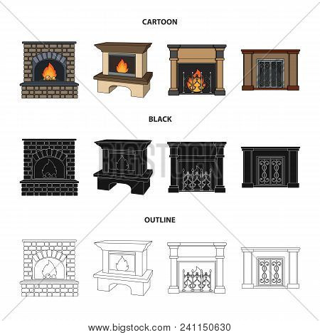 Fire, Warmth And Comfort.fireplace Set Collection Icons In Cartoon, Black, Outline Style Vector Symb