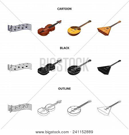 Musical Instrument Cartoon, Black, Outline Icons In Set Collection For Design. String And Wind Instr