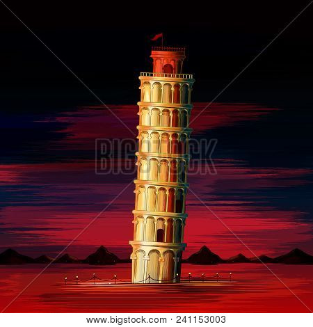 Vector Illustration Of Leaning Tower Of Pisa World Famous Historical Monument Of Italy