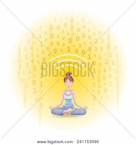 Digital Detox And Meditation. Meditating Young Woman Protecting Herself From Shower Of Information.