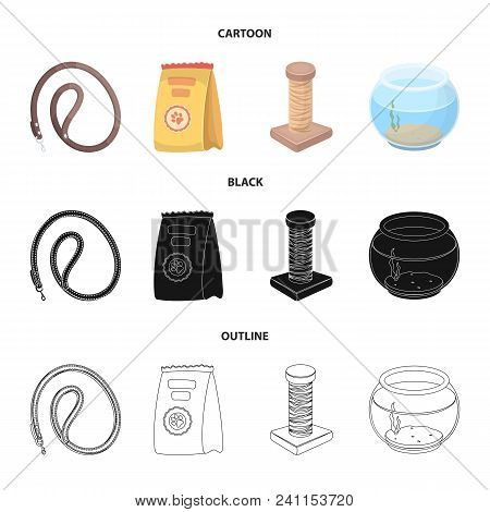 Leash, Feed And Other Zoo Store Products.pet Shop Set Collection Icons In Cartoon, Black, Outline St