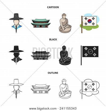 Korean In National Headdress, Korean Monastery, Buddha Figurine, National Flag. South Korea Set Coll