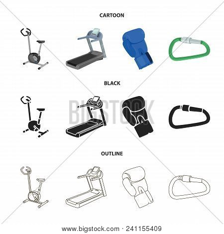 Exercise Bike, Treadmill, Glove Boxer, Lock. Sport Set Collection Icons In Cartoon, Black, Outline S