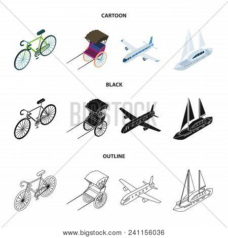 Bicycle, Rickshaw, Plane, Yacht.transport Set Collection Icons In Cartoon, Black, Outline Style Vect