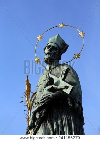 Statue Of John Nepomucene With Halo With Five Stars Is The Protector From Floods And Drowning