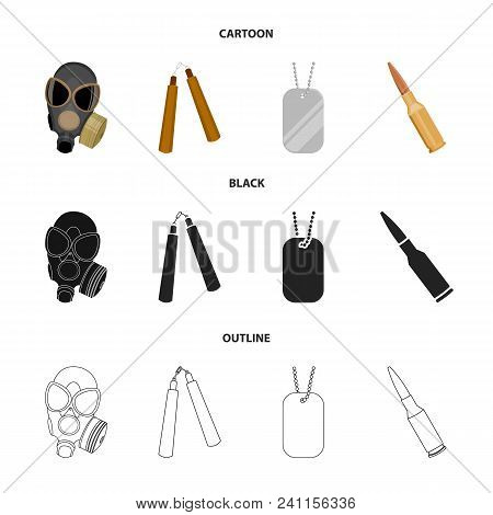 Gas Mask, Nunchak, Ammunition, Soldier Token. Weapons Set Collection Icons In Cartoon, Black, Outlin