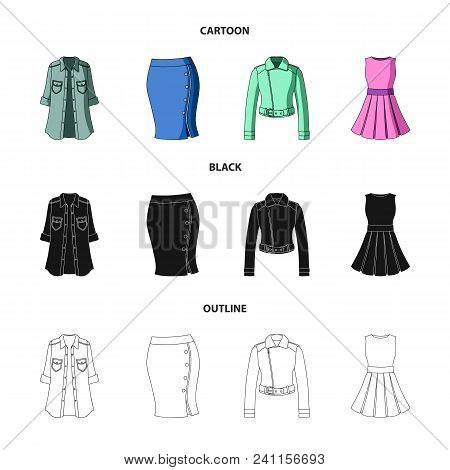 Women Clothing Cartoon, Black, Outline Icons In Set Collection For Design.clothing Varieties And Acc
