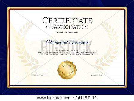 Certificate Template In Sport Theme With Blue Border Frame, Diploma Design