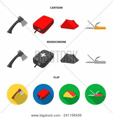 Ax, First-aid Kit, Tourist Tent, Folding Knife. Camping Set Collection Icons In Cartoon, Flat, Monoc