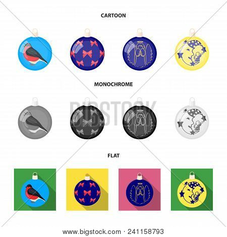 New Year Toys Cartoon, Flat, Monochrome Icons In Set Collection For Design.christmas Balls For A Tre