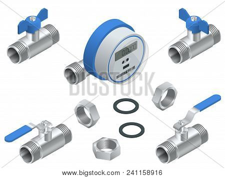Isometric Set Of Water Meter For Cold Water With Pipeline. Vector Illustration Counters Isolated On