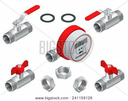Isometric Set Of Water Meter For Warm Water With Pipeline. Vector Illustration Counters Isolated On