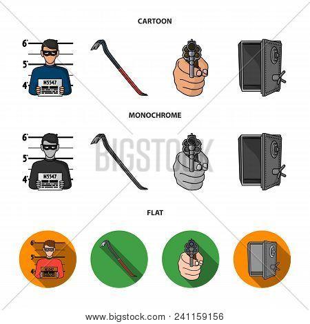 Photo Of Criminal, Scrap, Open Safe, Directional Gun.crime Set Collection Icons In Cartoon, Flat, Mo