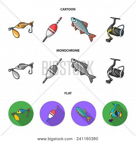 Fishing, Fish, Catch, Hook .fishing Set Collection Icons In Cartoon, Flat, Monochrome Style Vector S