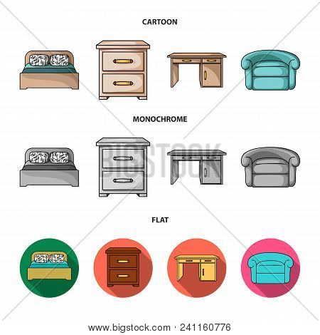 Interior, Design, Bed, Bedroom .furniture And Home Interiorset Collection Icons In Cartoon, Flat, Mo