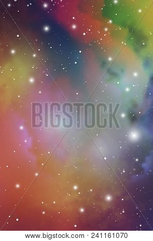 Elegant Universe Scientific Outer Space Wallpaper. Cosmic Light Colorful Nebula Vector Background Fo