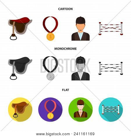 Saddle, Medal, Champion, Winner .hippodrome And Horse Set Collection Icons In Cartoon, Flat, Monochr