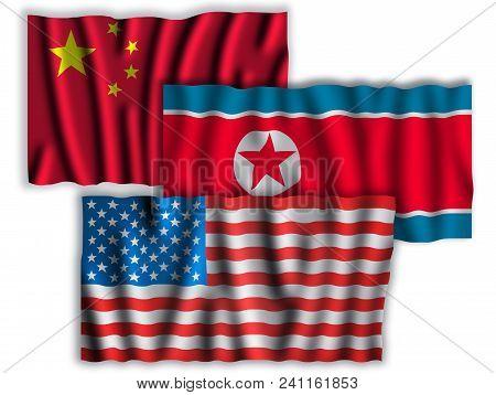 Usa , China And North Korea Flags. Waving Flags Of The United States Of America, China And North Kor