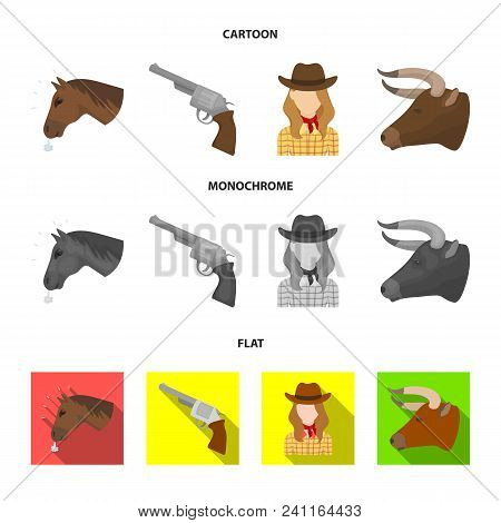 Head Of A Horse, A Bull Head, A Revolver, A Cowboy Girl.rodeo Set Collection Icons In Cartoon, Flat,