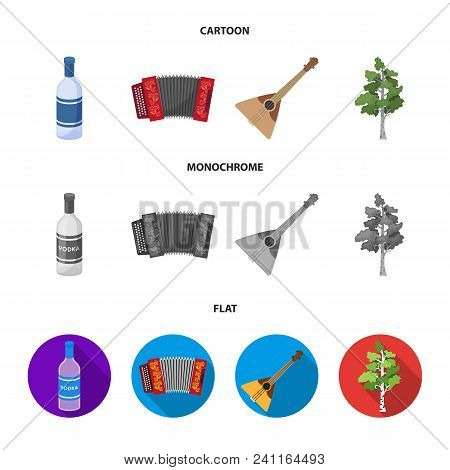Russia, Country, Vodka, Accordion .russia Country Set Collection Icons In Cartoon, Flat, Monochrome