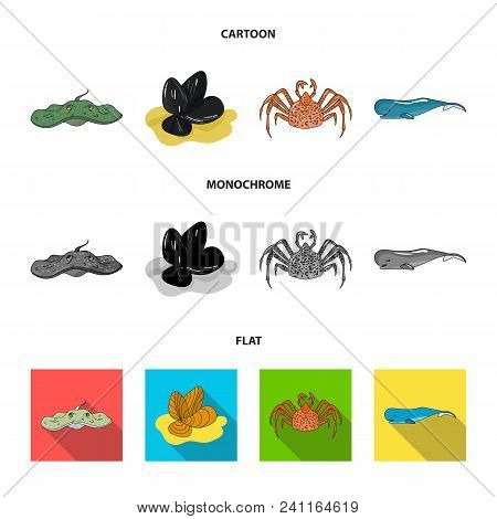 Electric Ramp, Mussels, Crab, Sperm Whale.sea Animals Set Collection Icons In Cartoon, Flat, Monochr