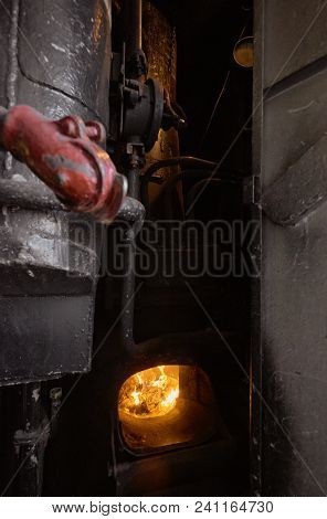 Closeup Of Heating System In Old Railway Passenger Train