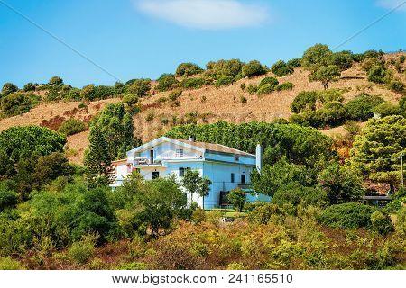 House On Hills And Highland In Posada, Nuoro Province, Sardinia, Italy