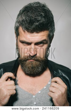 Man Portrait. Stylish Bearded Man In Gray Pullover And Fashionable Black Leather Jacket. Serious Cau