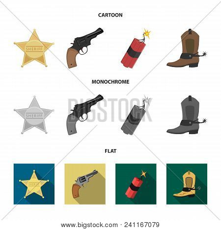 Star Sheriff, Colt, Dynamite, Cowboy Boot. Wild West Set Collection Icons In Cartoon, Flat, Monochro