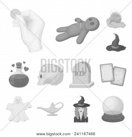 Monochrome And White Magic Monochrome Icons In Set Collection For Design. Attributes And Sorceress A