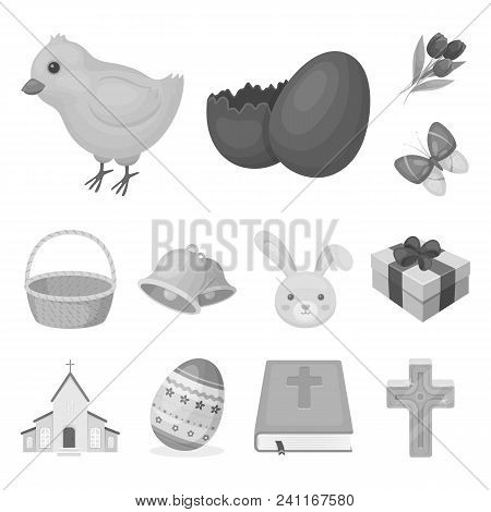 Easter Is A Christian Holiday Monochrome Icons In Set Collection For Design. Easter Attributes Vecto