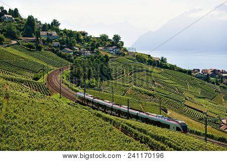Bourg-en-lavaux, Switzerland - August 30, 2016: Running Train At Lavaux Vineyard Terraces Hiking Tra