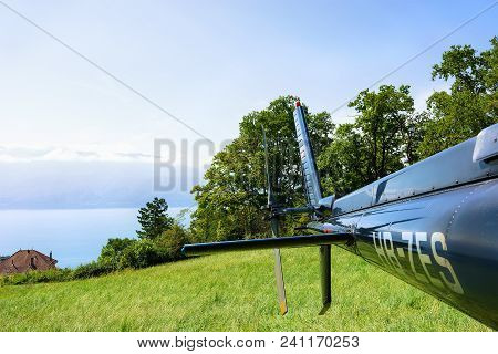 Bourg-en-lavaux, Switzerland - August 30, 2016: Tail Of Helicopter At Lavaux, Lavaux-oron District,