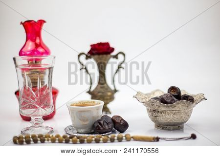 Ramadan Food, Traditional Muslim Culture Food For Ramadan Kareem Night, Prayer For Allah By Fasting