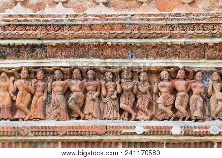 Terracotta Decorations On The Walls At Pratapeswar Temple At Kalna, West Bengal, India. Terracotta I