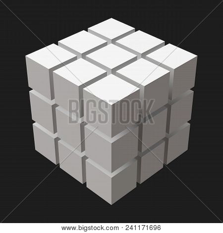 Big Cube With Cubic Cuts. Big Cubes Version. Suitable For Banner, Ad, Technology And Abstract Themes
