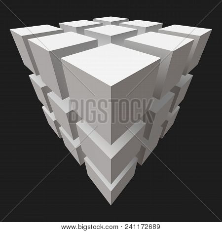 Big Cube With Cubic Cuts. Wide Angle View. Suitable For Banner, Ad, Technology And Abstract Themes