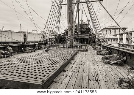 Genoa, Italy - May 14, 2017: The Upper Deck Of The Sailing Wooden Ship Galleon Neptun In Porto Antic
