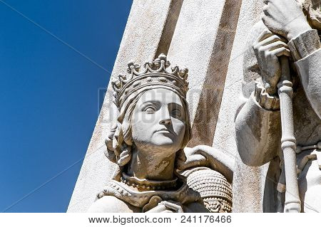 Lisbon, Portugal, May 5, 2018: Statue Of Philippa Of Lancaster, Detail Of The Monument To The Discov