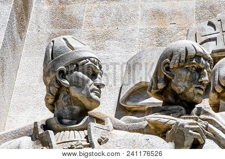 Lisbon, Portugal, May 5, 2018: Statue Of Nuno Goncalves, Detail Of The Monument To The Discoveries.