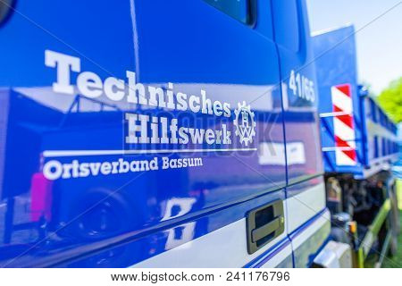 Delmenhorst / Germany - May 6, 2018: German Technical Emergency Service Sign On A Truck. Technisches