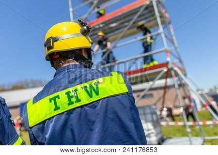 Delmenhorst / Germany - May 6, 2018: German Technical Emergency Service Sign On A Vest From A Man. T