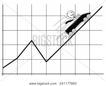 Cartoon Stick Man Drawing Conceptual Illustration Of Businessman In Roller Coaster Moving Fast Up On