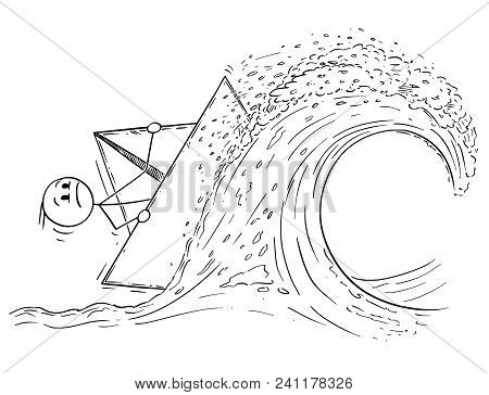 Cartoon Stick Man Drawing Conceptual Illustration Of Businessman Sailing Paper Ship Or Boat On High